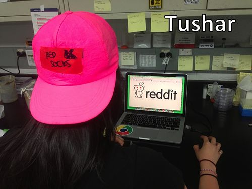 Current graduate student Tushar Patel, with his signature baseball hat, Order of the Engineer ring, and Reddit tab.