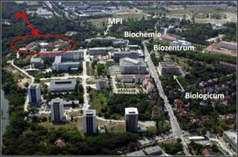 aerial view of the weinberg campus - IPB in red and a few other bio-institutes in white font - click on the pic to enlarge