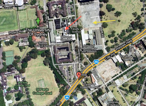 Red arrow = Chemistry; Yellow arrow = parking, off Barff Road