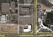 Here is a hybrid map of the CHTM location.  The green arrow marks the parking lot for the CHTM, which is the building farthest to the west.  University and Avenida Cesar Chavez are major cross-streets. Google link. Tinyurl link to map: http://tinyurl.com/kochlab.