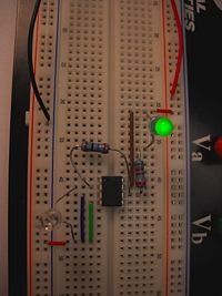 Building a circuit on a breadboard.