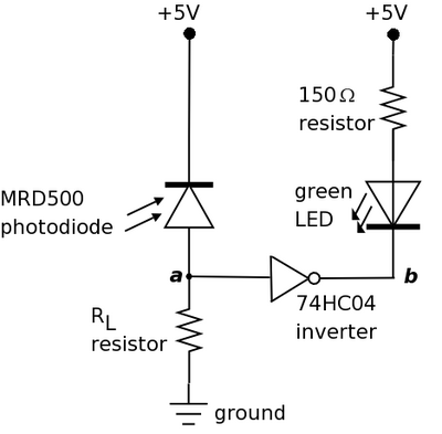 A diagram of the electrical circuit that is analogous to the bacterial photography system. Circuit designed by Tom Knight.