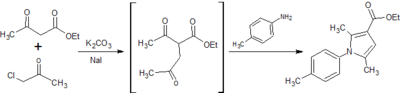 Figure 7: Synthesis of ethyl 2,5-dimethyl-1-(p-tolyl)-1H-pyrrole-3-carboxylate