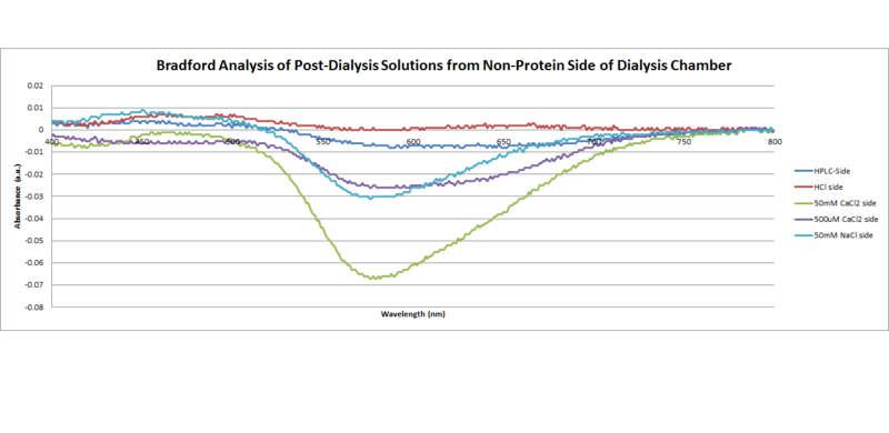 File:Bradford analysis of post dialysis solutions from non protein side of dialysis chamber.png