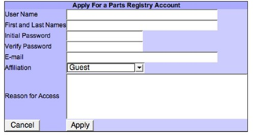 Login page for the Registry of Standard Biological Parts