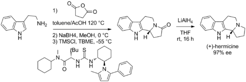 Scheme: (Jacobsen 2007). Total Synthesis of (+)-Harmicine