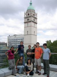 The I.CoLi Team on the top of the Biochemistry building with view on campus (Queens Tower in background)
