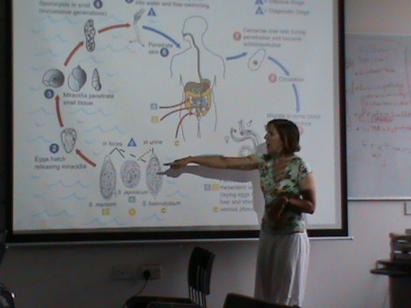 Martha Betson explaining the life cycle of Schistosoma