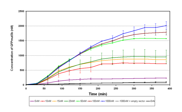 Figure 1.1 pTet-LuxR-pLux-GFPmut3b in vitro - The graph shows the concentration of GFPmut3b against time for varying levels of AHL