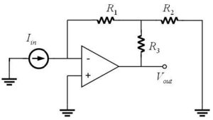 Schematic diagram of a high gain transimpedence amplifier.