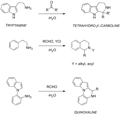Scheme 2: The tetrahydro-β-carboline, acyl-, alkyl- and quinoxaline Pictet-Spengler variations.