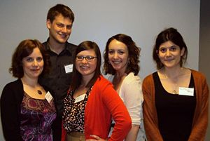 Melanie Berkmen with research assistants Kyle Swerdlow, Stephanie Laurer, Gianna Mancuso, and Azul Pinochet Barros