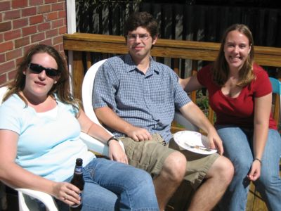 Ashley, extended lab member Kyle, and Emily at the fall BBQ