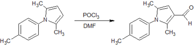 Figure 6: Vilsmeier-Haack synthesis of 2,5-dimethyl-1H-(p-tolyl)-pyrrole-3-carboxaldehyde