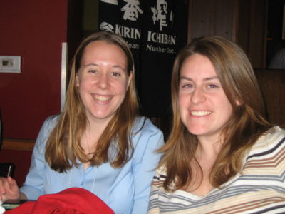 Emily and Ashley having sushi during the Biophysical Society meeting