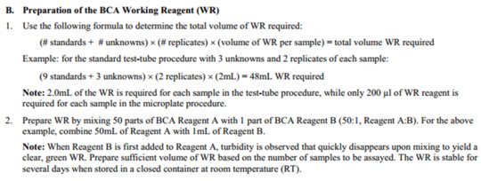 Prepare working reagent (WR) standards for Pierce kit