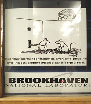 Just another lab door at Brookhaven National Lab, where I was a user of the NASA Space Radiation Lab