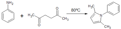 Figure 2: Paal Knorr Synthesis of 2,5-dimethyl-1H-phenyl-pyrrole