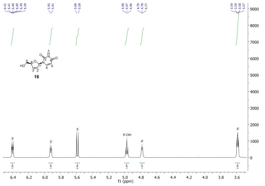 zoom of 1H NMR of compound 16