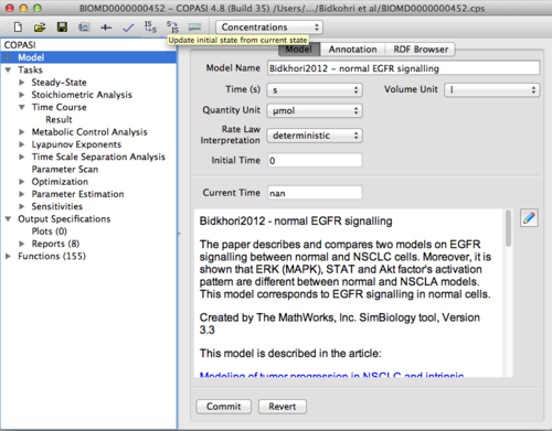 Figure 4: View of COPASI start-up page with Bidkhori et al. model loaded into program.