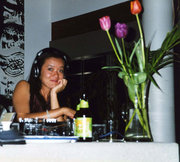 DJ'ing at a house party 2004