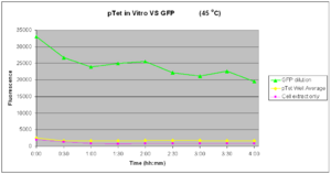 Fig.4: GFP Expression of pTet-GFP in vitro at 45°C over 4 hours