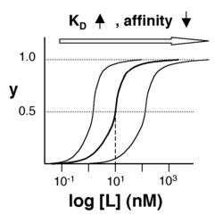 Semilog binding curves. By converting ligand concentrations to logspace, the dissociation constants are readily determined from the sigmoidal curves' inflection points. The three curves each represent different ligand species. The middle curve has a KD close to 10 nM, while the right-hand curve has a higher KD and therefore lower affinity between ligand and receptor (vice-versa for the left-hand curve).