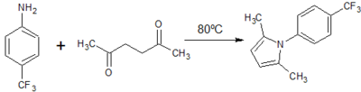 Figure 4: Paal Knorr synthesis of 2,5-dimethyl -1H-(p-trifluoromethyl)phenyl-pyrrole