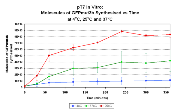 Fig.1:pT7 in vitro - pT7 construct was tested in vitro for 360 minutes at 4°C, 25°C and 37°C. The fluorescence was measured and converted into molecules of GFPmtu3b in vitro using our calibration curve. The standard deviation is also shown for each temperature, which is an average of three samples. However, for 25°C one of the three samples was excluded because when compared to the other two samples it was  clearly an anomaly.
