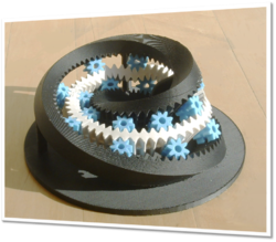 The Moebius Gear, produced by 3D printing