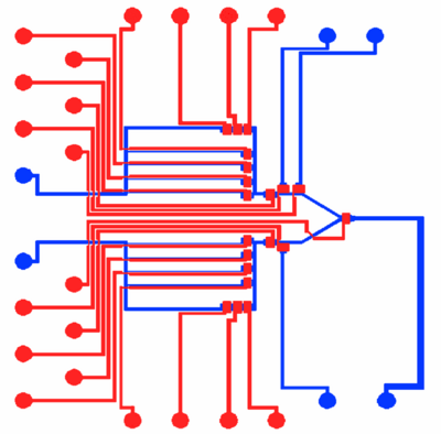 The blue channels are in the fluid layer.  The red channels are in the control layer.
