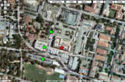 Red star = Y2E2 building; Green stars = parking, if needed