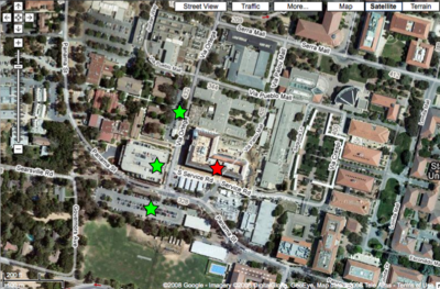 Red star = Y2E2 building; Green stars = parking, if needed; click for larger