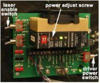 "Figure 2: A photo of the laser driver board with the relevant controls labeled. Leave the third switch in the ""i monitor"" position."