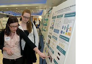Stephanie and Bridget at their poster at the Suffolk University Science Banquet, Spring 2010