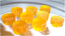 Poly(ethylene glycol)/poly(d,l-lactide) hydrogel scaffolds created by sterolithography. [13]