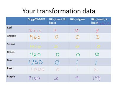 Transformation data from T/R lab
