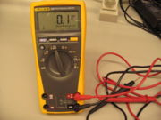 multimeter set to measure current rather than resistance as you should be doing