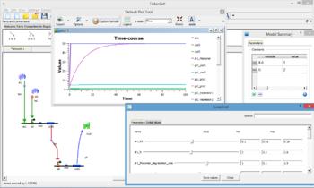 Screen grab from TinkerCell software. A genetic NOR gate is pictured, with the accompanying basic model summary, plot and parameter input forms
