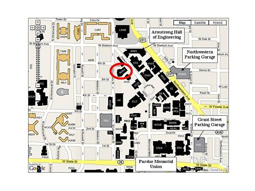 Our labs and offices are in the Robert Heine Pharmacy Building (red oval) on Purdue's main campus in West Lafayette. Public parking is available in the Grant Street Parking Garage or Northwestern Parking Garage.