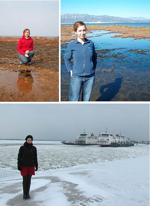 Top, posing in front of microbial mats from the Ebro delta, Spain. Bottom, Winter wonderland in Texel