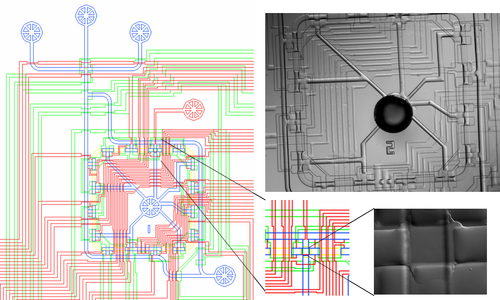 Chip design with sorting chamber displayed in lower right