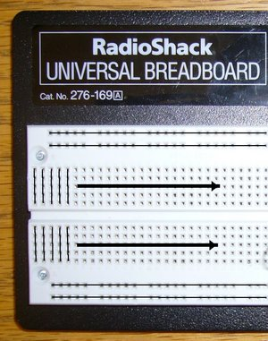 Breadboard: The lines show how the breadboard holes are connected.  Typically the top and bottom two horizontal rows are used for power and ground.