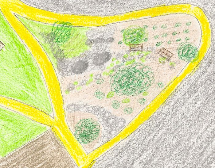 The above figure shows an aerial view of Transect 5. Transect 5 is surrounded by sidewalks, which are colored in yellow. The bushes and trees appear as green circles, the stones appear as grey circles, and the benches appear as brown rectangles. The grey area surrounding the sidewalks are roadways, and the brown structure to the bottom left of the transect is a dorm building. Light green areas represent grass; light brown areas represent mulch and soil.
