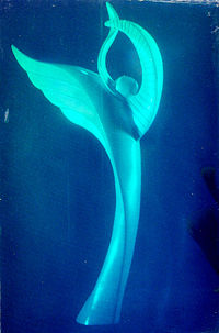 3D blue holographic image by sculptor Eileen Borgeson[http://www.eileenborgeson.com/default.htm
