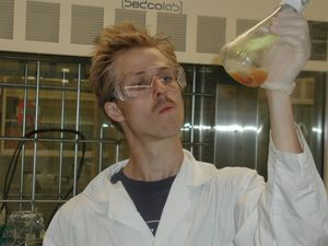 Silly photo of me in lab.