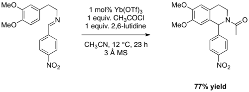 Scheme 11: The Yb(OTf)3 catalysed acyl-PS formation of THIQ.
