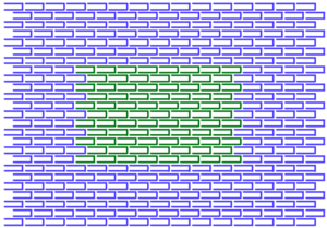 Large canvas (blue) with L-DNA (green) templated on top