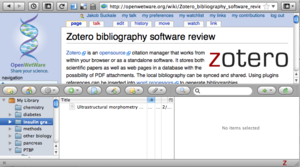 An example of Zotero working from within the browser. It is opened and closed like a drawer from the bottom of the window.