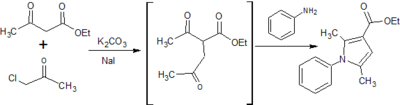 Figure 8: Synthesis of ethyl 2,5-dimethyl-1-phenyl-1H-pyrrole-3-carboxylate